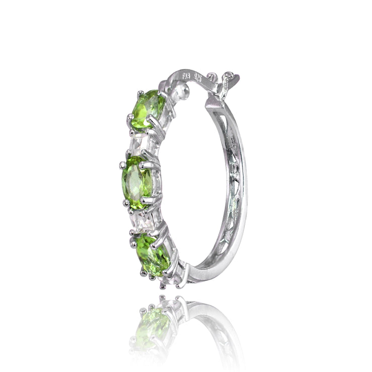 Sterling Silver 5x3mm Oval Peridot & Princess-cut White Topaz Filigree Hoop Earrings