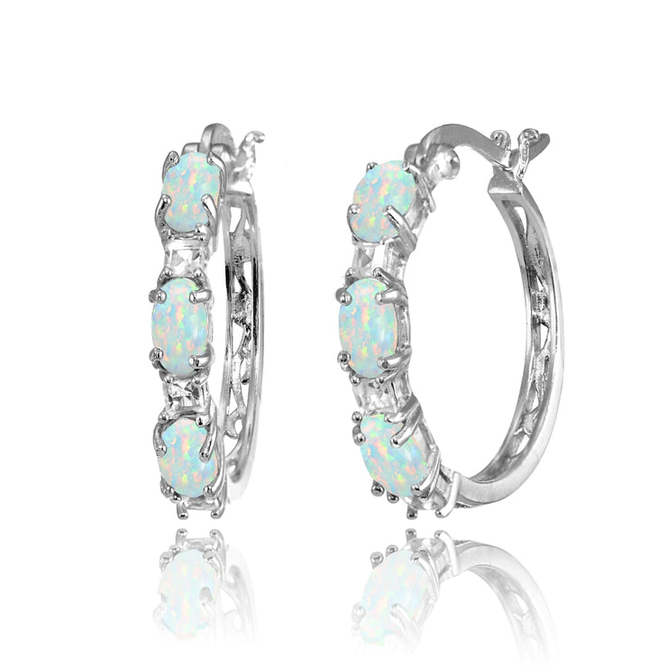 Sterling Silver Oval Created White Opal & Princess-cut White Topaz Filigree Hoop Earrings