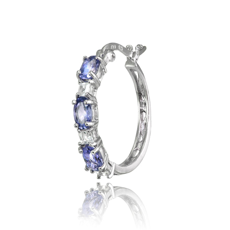 Sterling Silver 5x3mm Oval Tanzanite & Princess-cut White Topaz Filigree Hoop Earrings