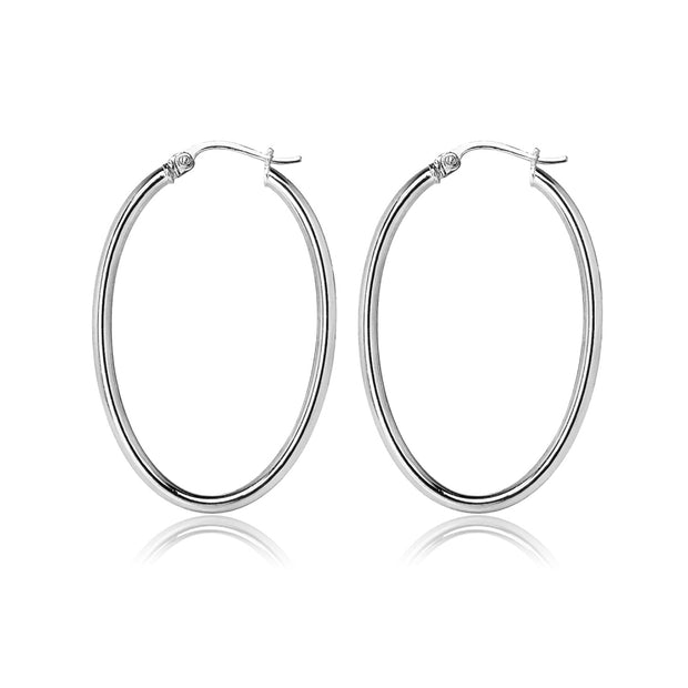 Sterling Silver 2x35mm High Polished Oval Hoop Earrings