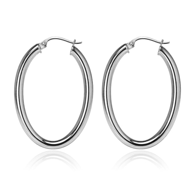 Sterling Silver 3x40mm High Polished Oval Hoop Earrings