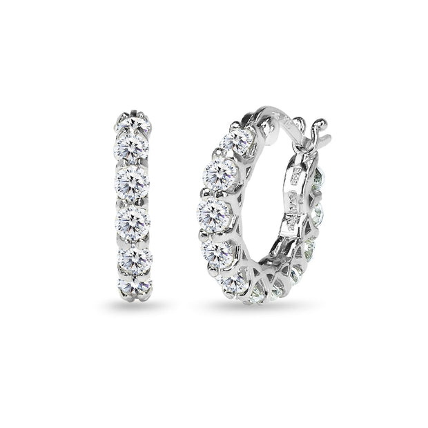 Sterling Silver Round Small Huggie Hoop Earrings Made with Swarovski Zirconia, 16mm