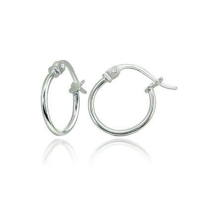 Sterling Silver High Polished Round Thin Hoop Earrings, 12mm