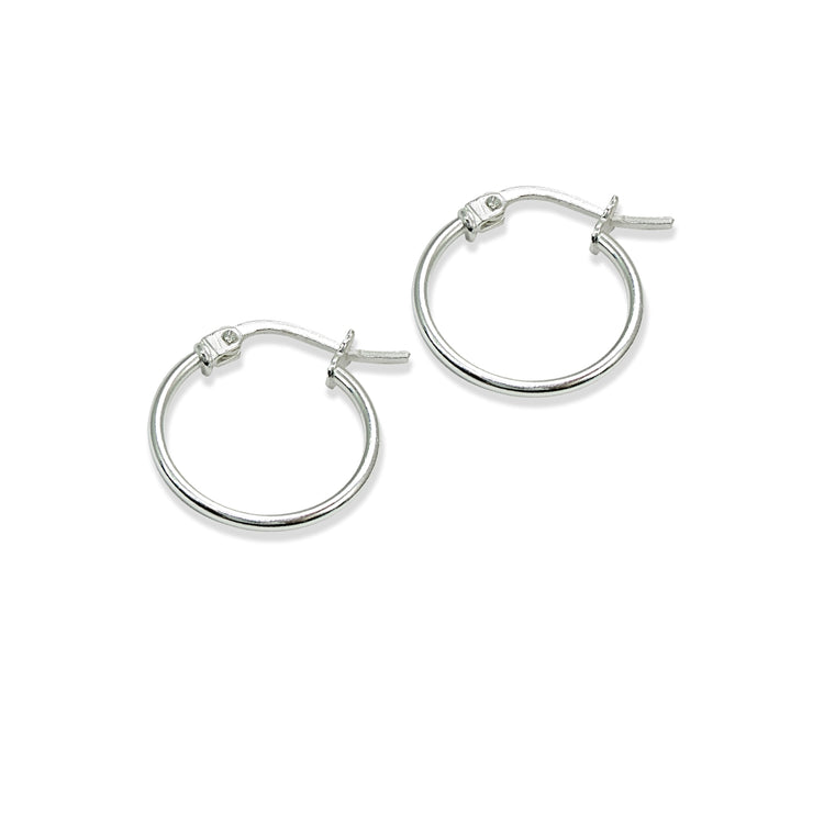 Sterling Silver Tiny Small  High Polished Round Thin Lightweight Unisex Hoop Earrings, 15mm