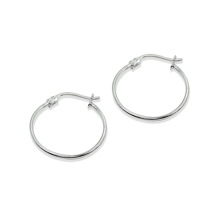 Sterling Silver Small 20mm High Polished Round Thin Lightweight Unisex Hoop Earrings