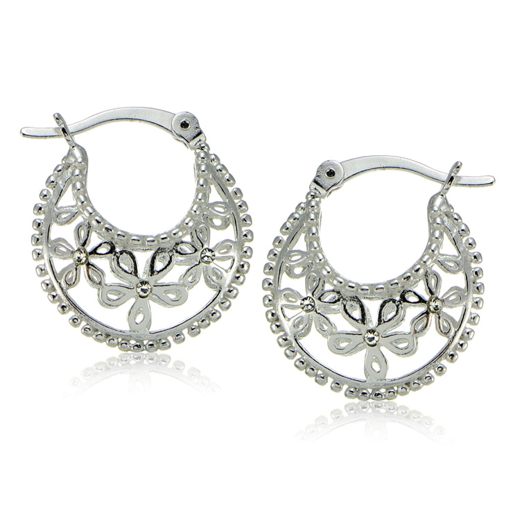 Sterling Silver Polished Filigree Flower Hoop Earrings with CZ Accents