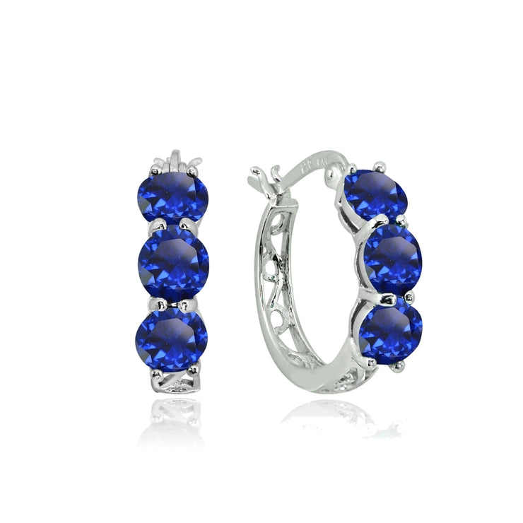 Sterling Silver Created Blue Sapphire Round Filigree Three Stone Hoop Earrings