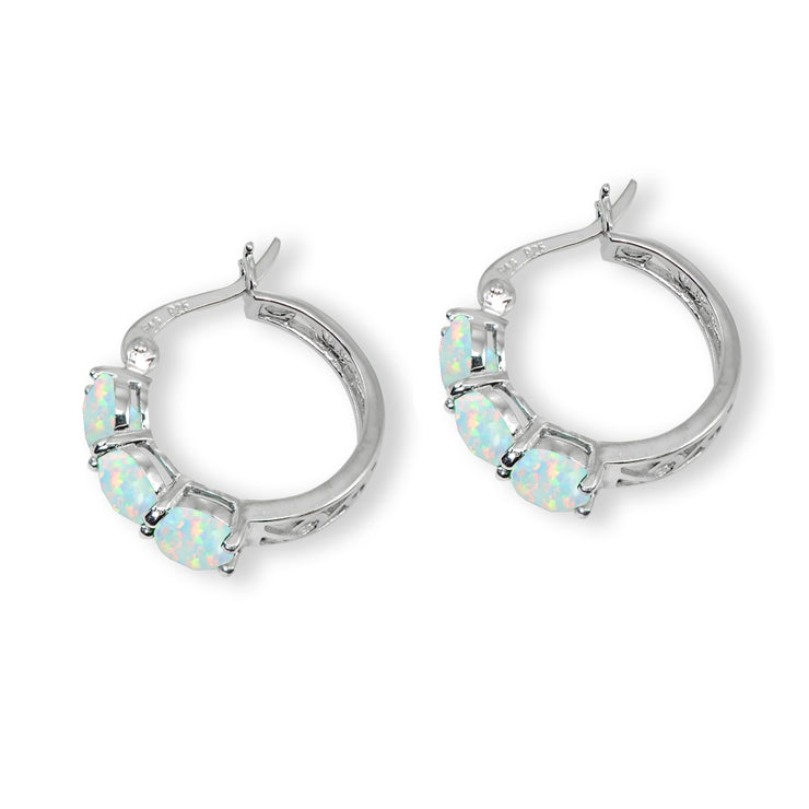 Sterling Silver Created White Opal Round Filigree Three Stone Hoop Earrings