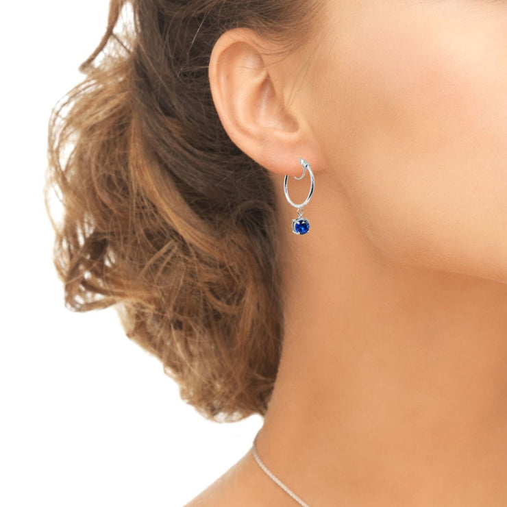 Sterling Silver Round Hoop Earrings with Dangling Created Blue Sapphire Gemstones