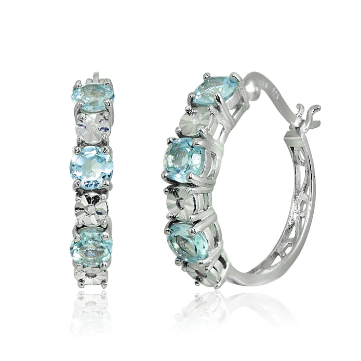 Sterling Silver Blue Topaz Round Filigree 20mm Hoop Earrings