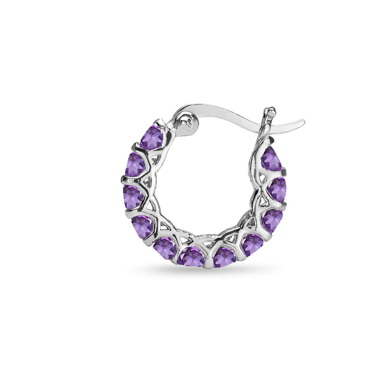 Sterling Silver African Amethyst Small Round Huggie 18mm Hoop Earrings