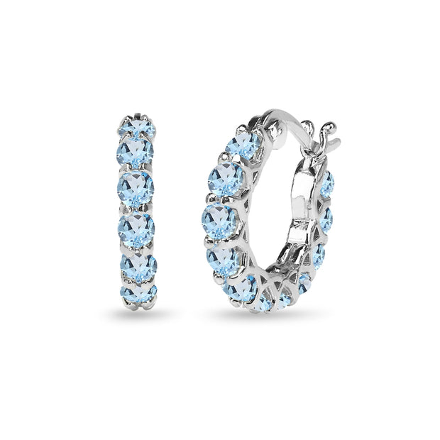 Sterling Silver Blue Topaz Small Round Huggie 18mm Hoop Earrings