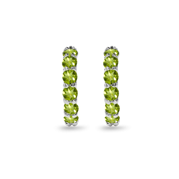Sterling Silver Peridot Small Round Huggie 18mm Hoop Earrings