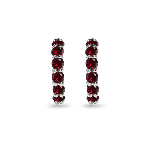 Sterling Silver Created Ruby Small Round Huggie 18mm Hoop Earrings