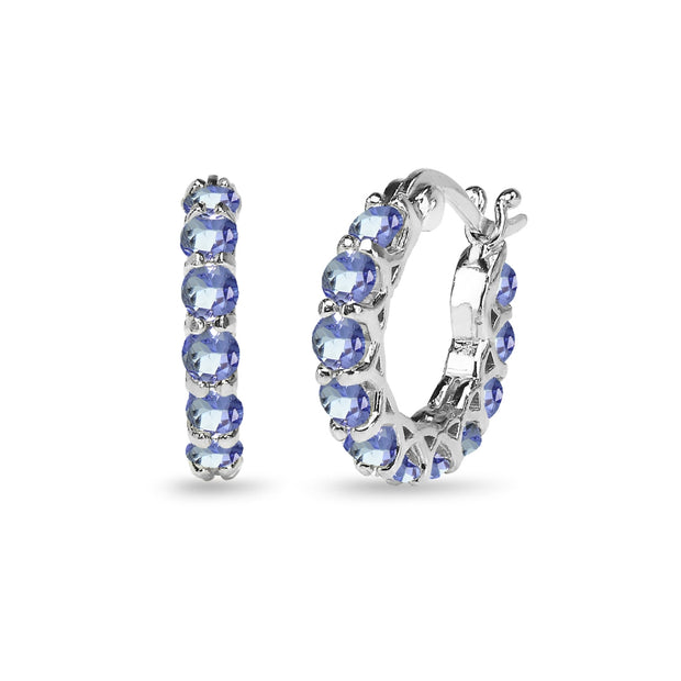 Sterling Silver Tanzanite Small Round Huggie 18mm Hoop Earrings
