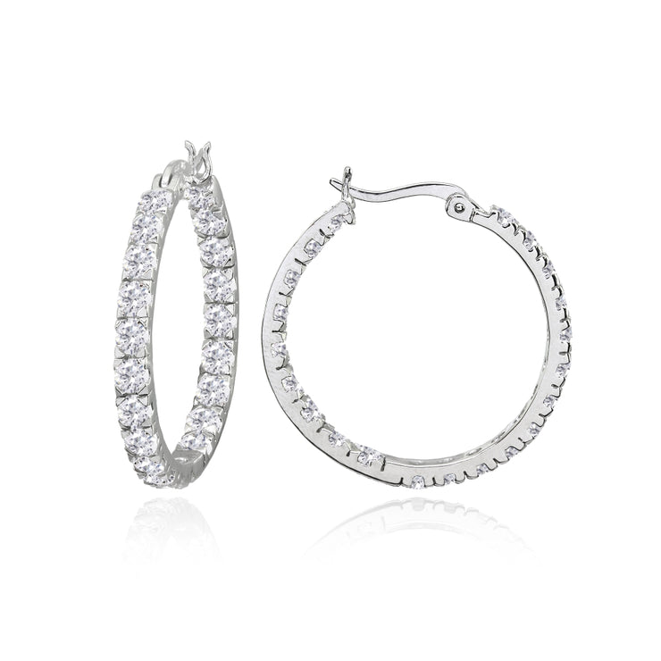 Sterling Silver 3mm Cubic Zirconia Inside Out Round Hoop Earrings