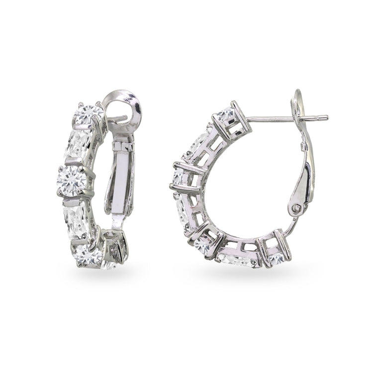 Sterling Silver Cubic Zirconia Round Rectangle Clutchless Small J-Hoop Earrings