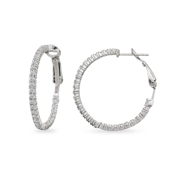 Sterling Silver Cubic Zirconia Round Thin Inside-Out Clutchless Hoop Earrings