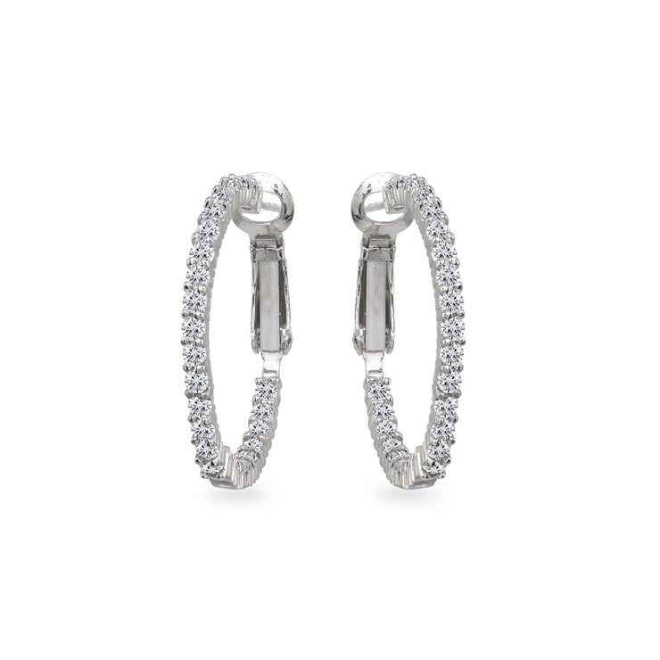 Sterling Silver Cubic Zirconia Round Dainty Inside-Out Clutchless Hoop Earrings