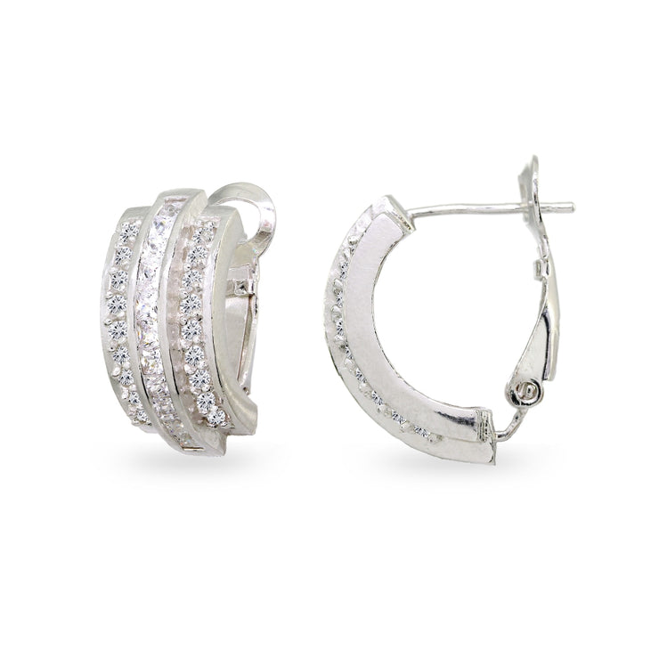 Sterling Silver Cubic Zirconia Three Row Channel-Set Clutchless Small J-Hoop Earrings