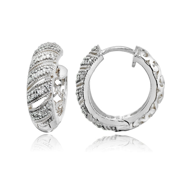 Sterling Silver Polished Diamond Accent Round Click Top Huggie Hoop Earrings, JK-I3