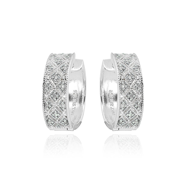 Sterling Silver Polished Textured Diamond Accent Round Click Top Huggie Hoop Earrings, JK-I3