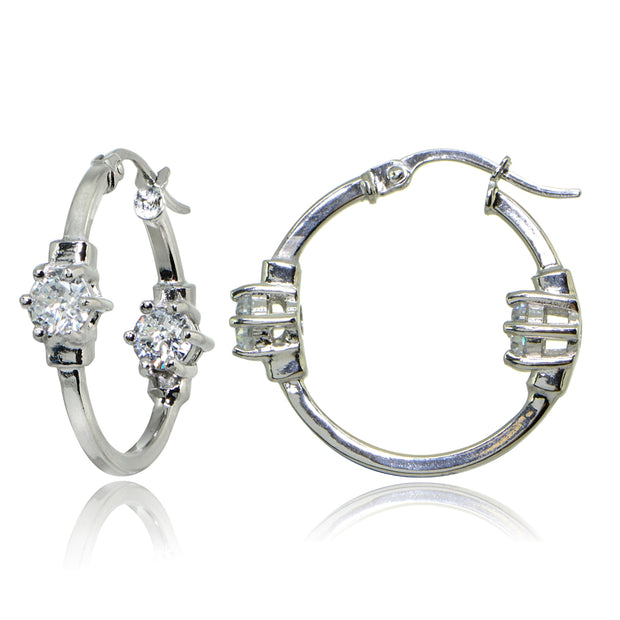 Sterling Silver Polished Cubic Zirconia Round Two Stone Hoop Earrings