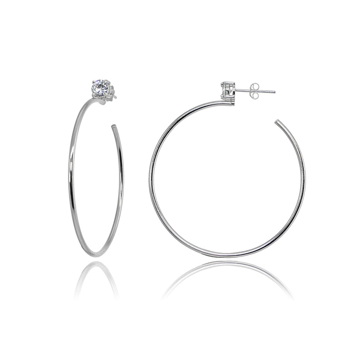 Sterling Silver Polished Cubic Zirconia Round 35mm Open Hoop Earrings