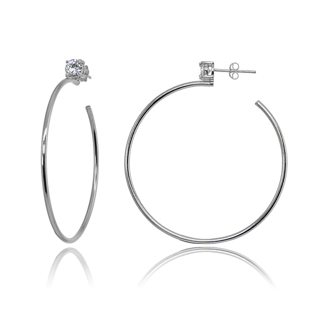 Sterling Silver Polished Cubic Zirconia Round 45mm Open Hoop Earrings