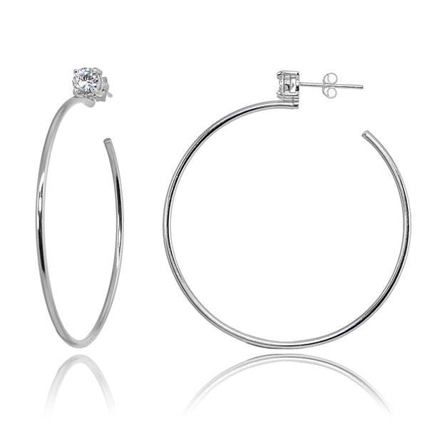 Sterling Silver Polished Cubic Zirconia Round 50mm Open Hoop Earrings