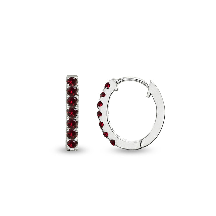 Sterling Silver Tiny Small 15mm Prong-set Created Ruby Oval Huggie Hoop Earrings