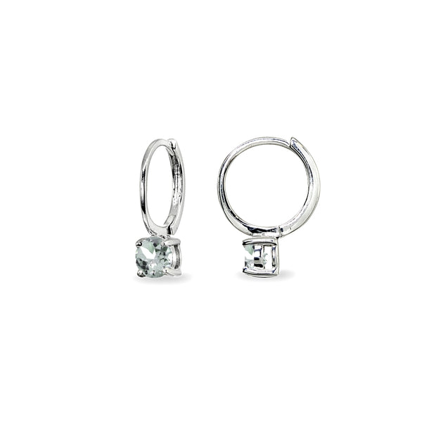 Sterling Silver Aquamarine 5mm Solitaire Small Round Huggie Hoop Earrings