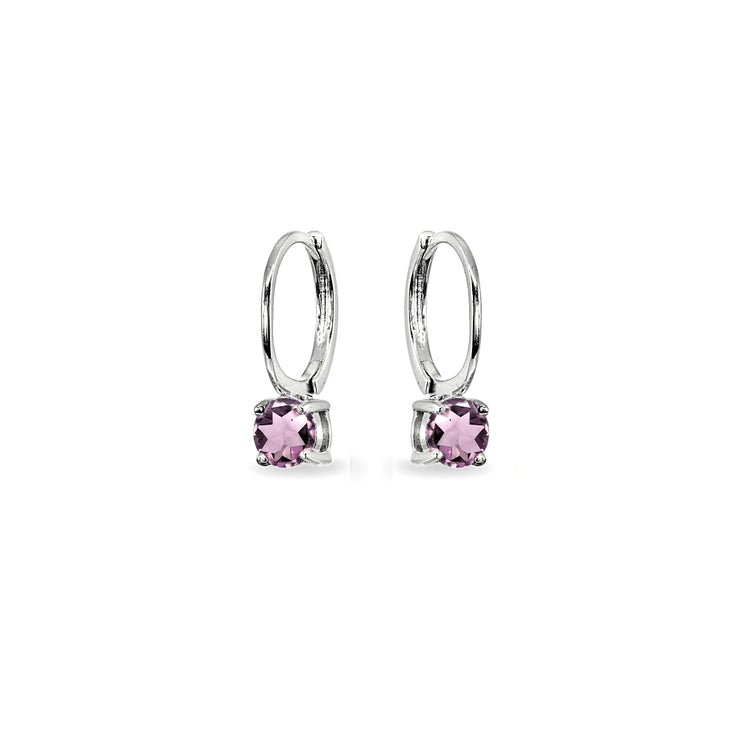 Sterling Silver Created Alexandrite 5mm Solitaire Small Round Huggie Hoop Earrings