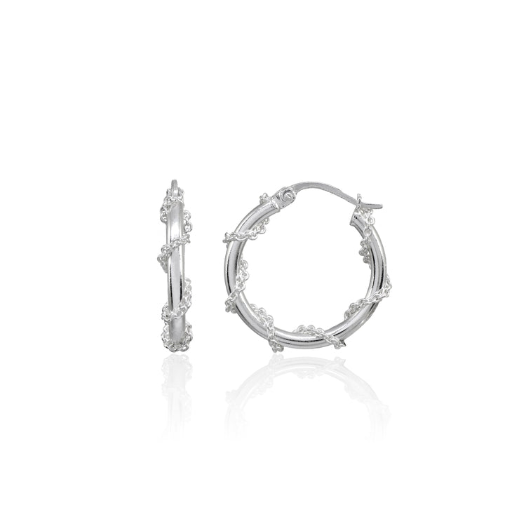 Sterling Silver Chain Wrap Click-Top Hoop Earrings, 20mm
