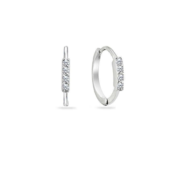 Sterling Silver Cubic Zirconia Vertical Bar Small Mini Huggie Hoop Earrings