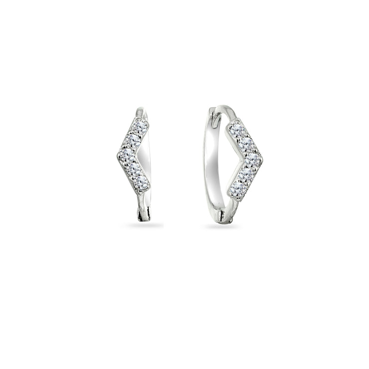 Sterling Silver Cubic Zirconia V Shape Small Huggie Hoop Earrings