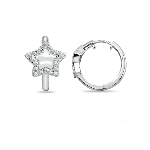 Sterling Silver Cubic Zirconia Star Small Huggie Hoop Earrings