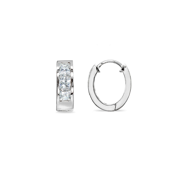 Sterling Silver,  Swarovski Zirconia 5x15mm Princess-Cut  Oval Small Huggie Hoop Earrings