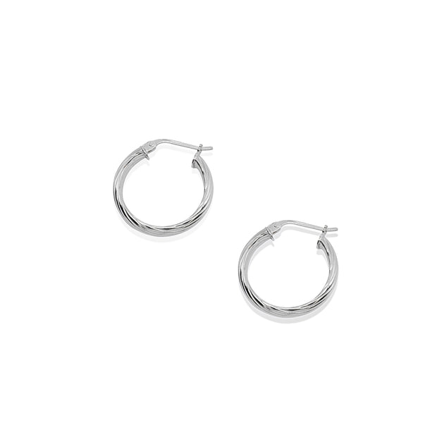 Sterling Silver Polished 3x15mm Twist Half Round Click-Top Small Hoop Earrings