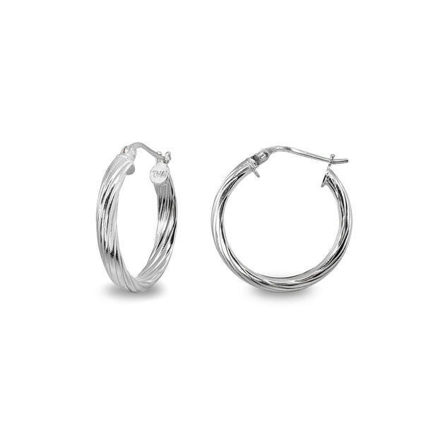 Sterling Silver Polished 3x20mm Twist Half Round Click-Top Small Hoop Earrings