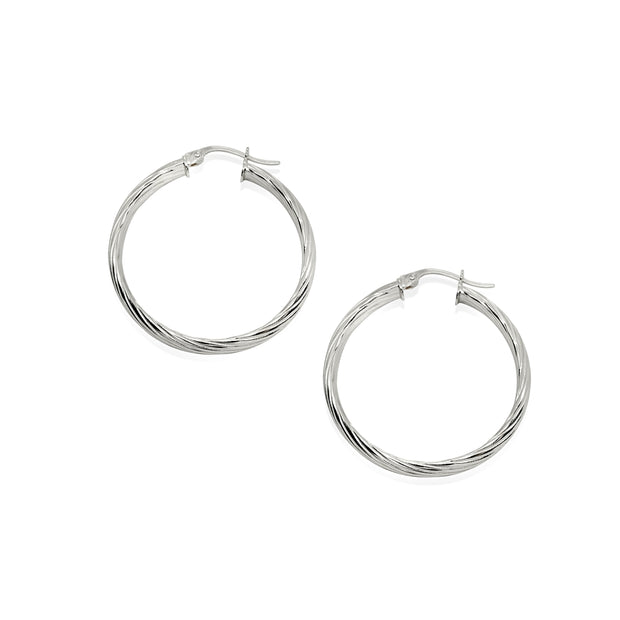 Sterling Silver Polished 3x25mm Twist Half Round Click-Top Small Hoop Earrings
