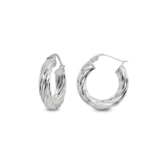 Sterling Silver Polished 4x20mm Twist Round Click-Top Small Hoop Earrings
