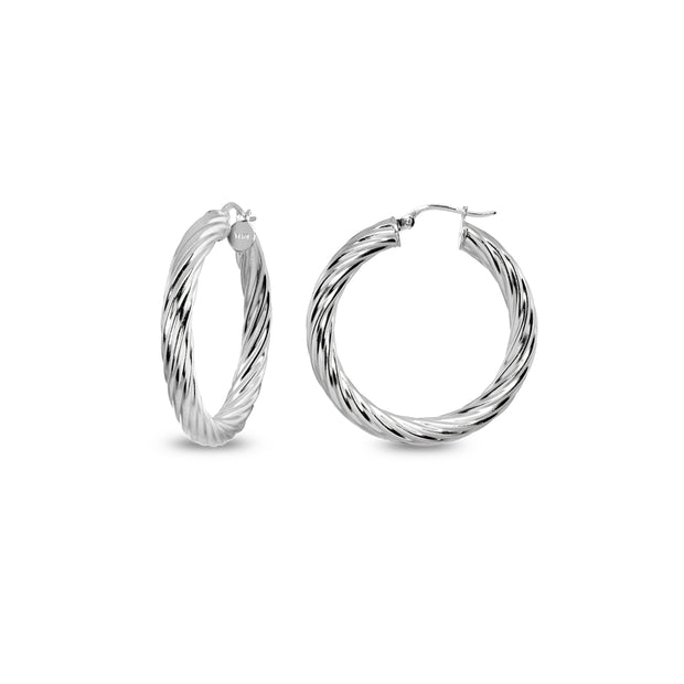 Sterling Silver Polished 4x25mm Twist Round Click-Top Small Hoop Earrings