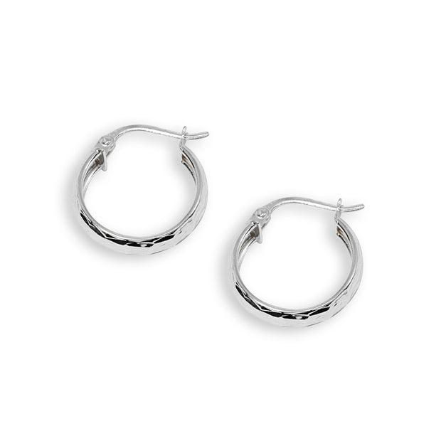Sterling Silver 4x15mm Diamond-Cut Round Click-Top Small Hoop Earrings