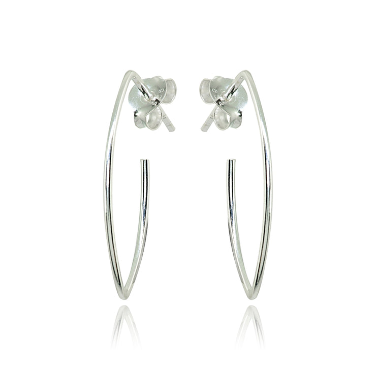 Sterling Silver Polished Marquise Shape Drop Hoop Earrings