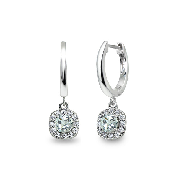 Sterling Silver Light Aquamarine & Cubic Zirconia Cushion-Cut Halo Small Dangle Huggie Hoop Earrings