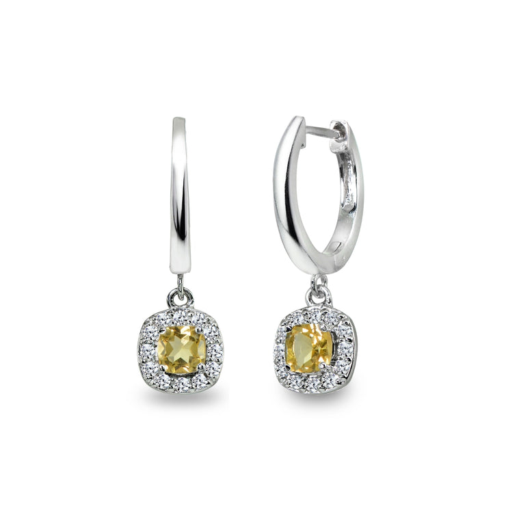Sterling Silver Citrine & Cubic Zirconia Cushion-Cut Halo Small Dangle Huggie Hoop Earrings