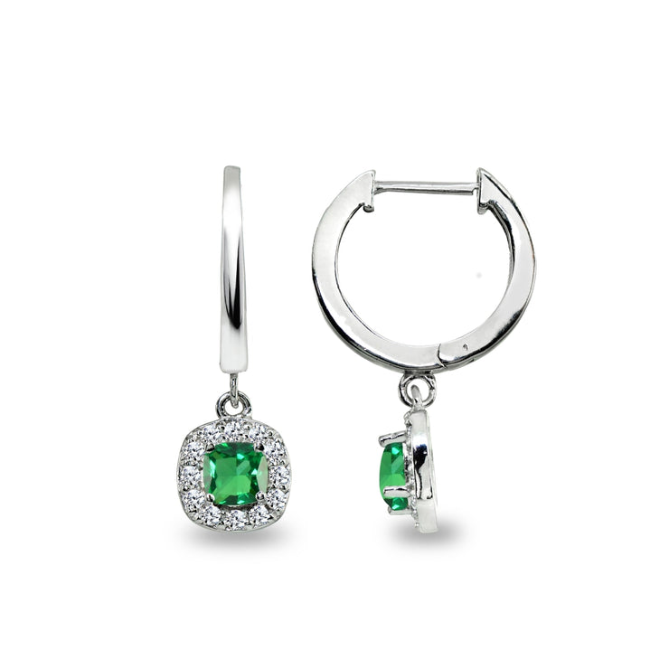 Sterling Silver Synthetic Green Quartz & Cubic Zirconia Cushion-Cut Halo Small Dangle Huggie Hoop Earrings