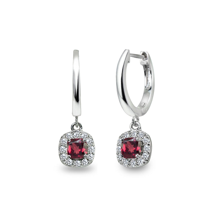 Sterling Silver Synthetic Ruby & Cubic Zirconia Cushion-Cut Halo Small Dangle Huggie Hoop Earrings
