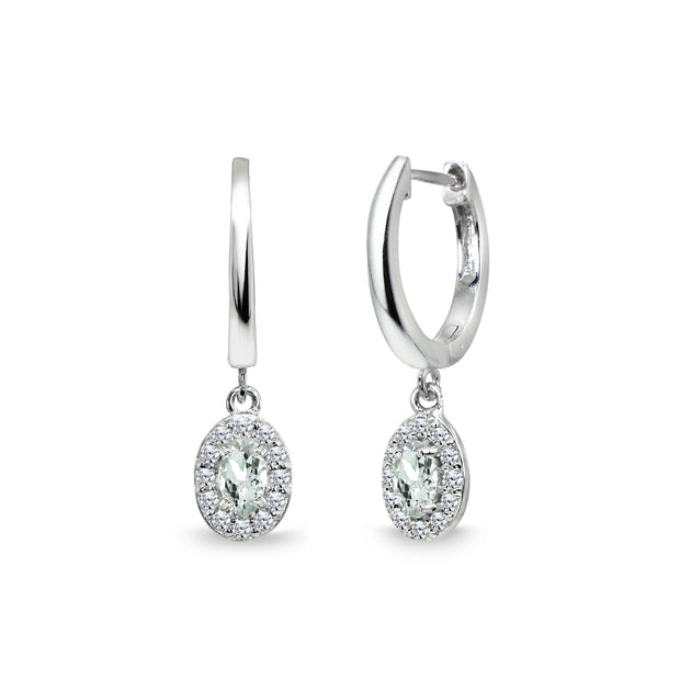 Sterling Silver Light Aquamarine & Cubic Zirconia Oval-Cut Halo Small Dangle Huggie Hoop Earrings